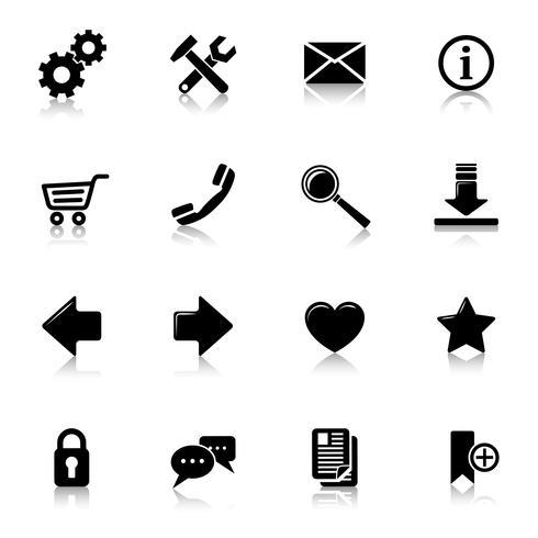 Website pictogrammen zwart vector