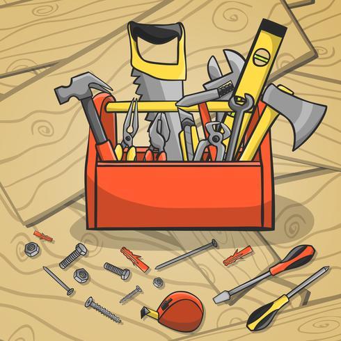 Werkset met gereedschapskisten en instrumenten vector