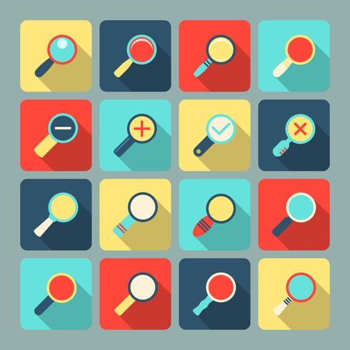 Vergrootglas platte pictogramserie vector