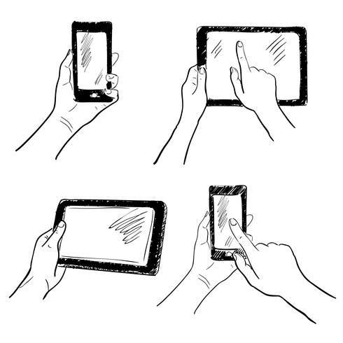 Handen touchscreen schets set vector