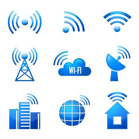 Wi-Fi glanzende pictogrammen instellen vector