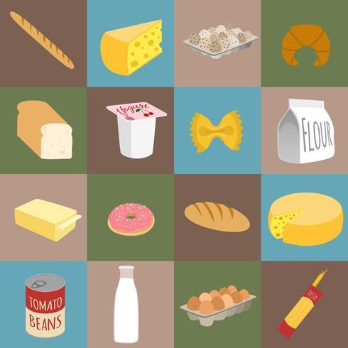 Voedsel plat pictogrammen vector