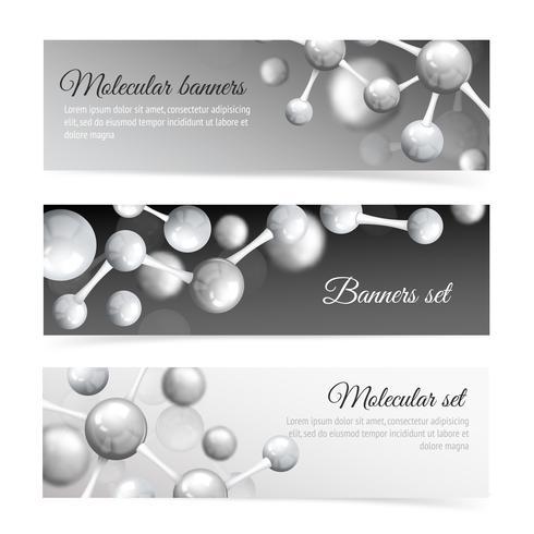 Zwart en wit molecuul banners instellen vector