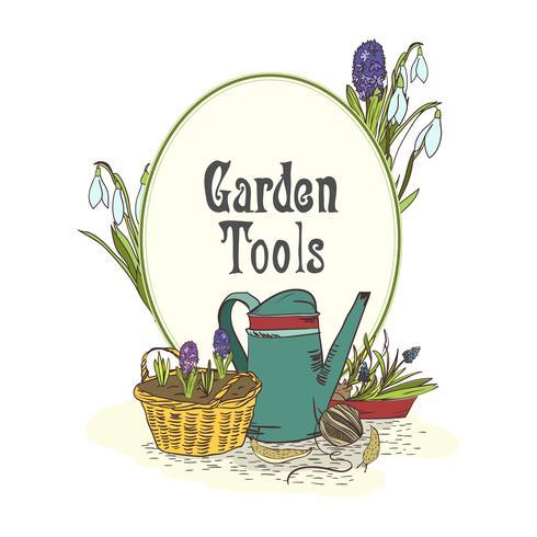 Hand getrokken tuinieren hulpmiddelen embleem vector