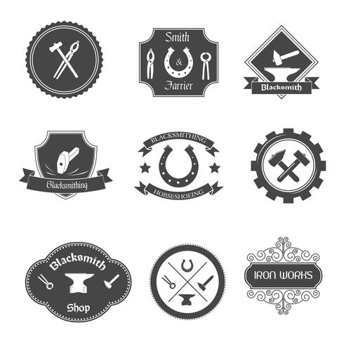 Blacksmith labels collectie pictogrammen instellen vector