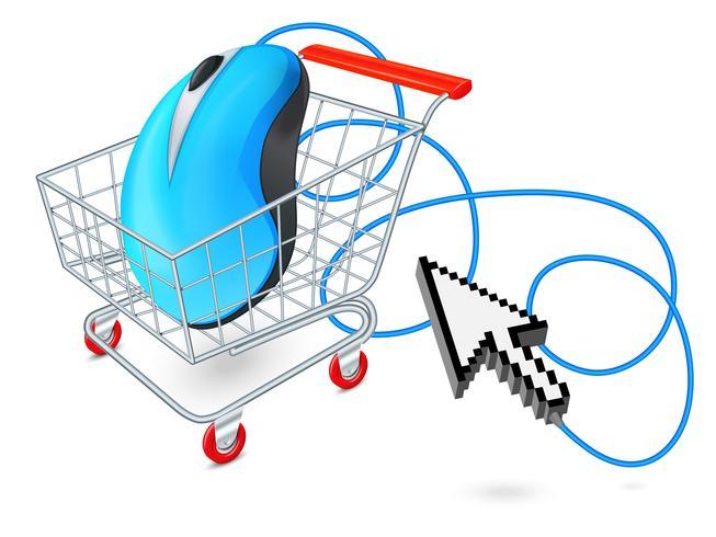 Internet winkelwagentje concept vector