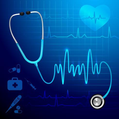 Stethoscoop heartbeat achtergrond vector