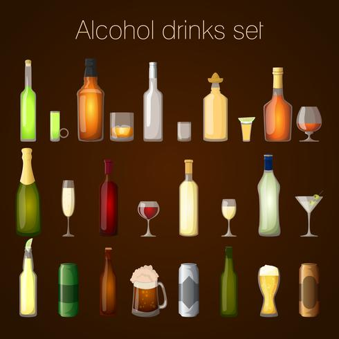 Alcohol drankjes set vector