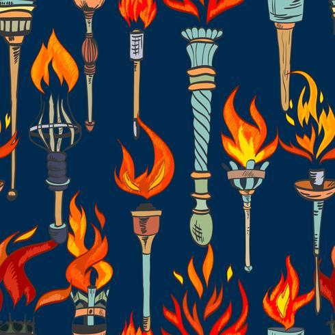 Torch schets naadloze patroon vector