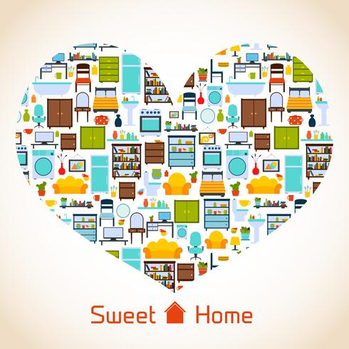 zoete huis hart concept vector