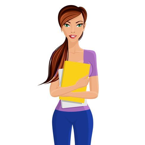 Student meisje bedrijf map vector