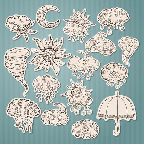 Doodle weersvoorspelling stickers vector