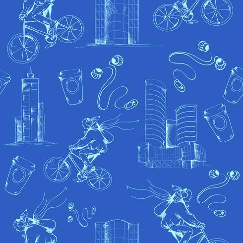 Blueprint stad naadloze patroon vector