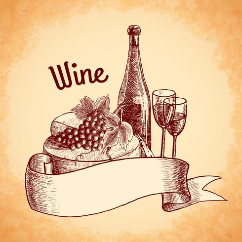 Wijn schets poster vector