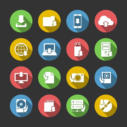 Internet Download symbolen Icons Set vector