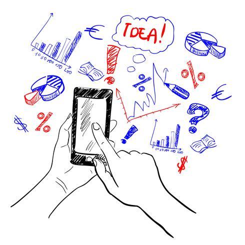 Handen touchscreen schets bedrijf vector