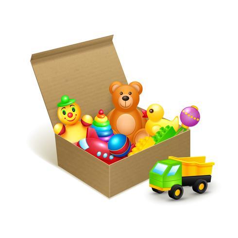 Speelgoed doos embleem vector
