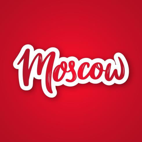 Moskou - hand getrokken belettering zin. vector
