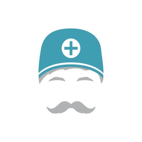 Portret van de medische oppasser in hoed. vector