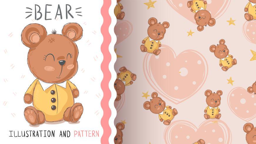 Teddy schattige beer - naadloos patroon vector