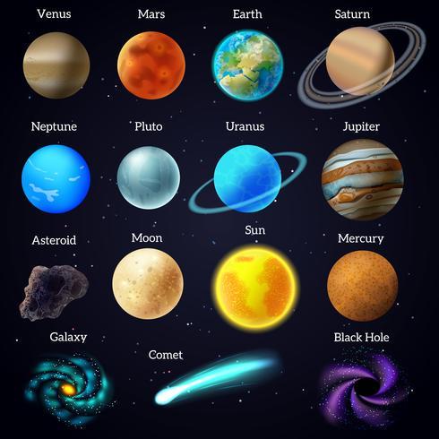 Kosmos sterren planeten galaxy pictogrammen instellen vector