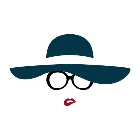 Portret van dame in sierlijke hoed en bril bijt op haar lip. vector