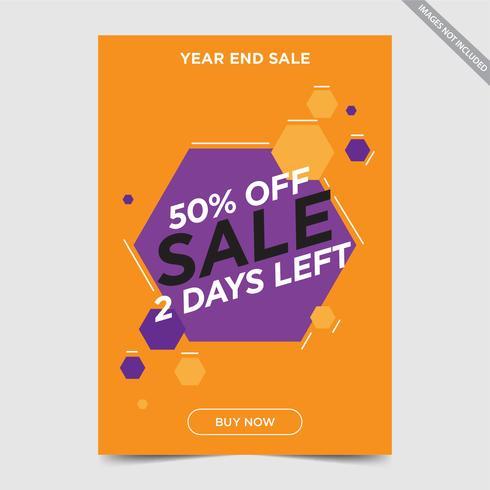 Vliegerontwerp voor Verkoop, flyer van de conceptenverkoop oranje purpere de kleuren vectorillustratie van de verkoopbunting vector