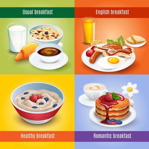 Ontbijt 4 vlakke pictogrammen vierkante combinatie vector