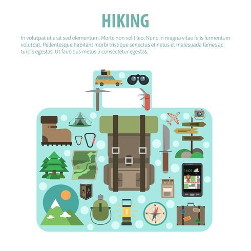 Samenstelling van de wandelings de conceptbagage gevormde pictogrammen vector