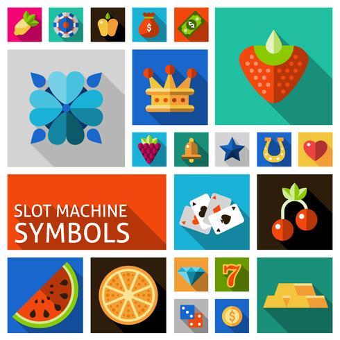 Slotmachine symbolen instellen vector