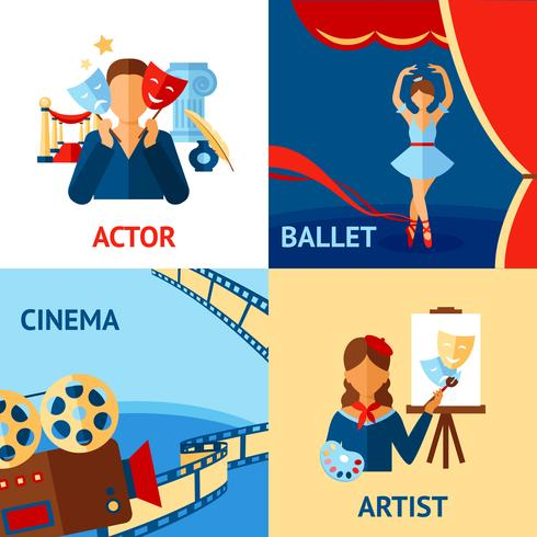 Kunst en cultuur Design Concept Set vector