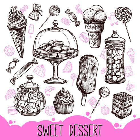 Zoete dessertset vector