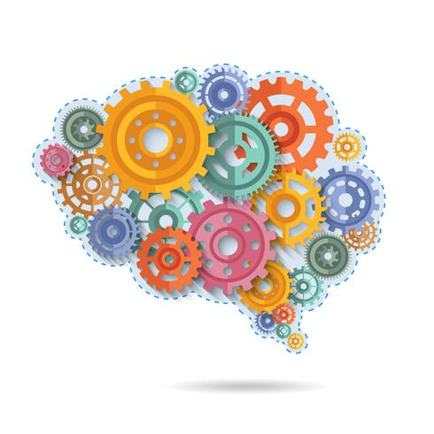 Kleur tandwielen van hersenen vector