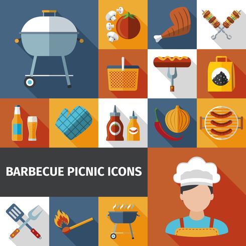 Barbecue picknick plat pictogrammen instellen vector
