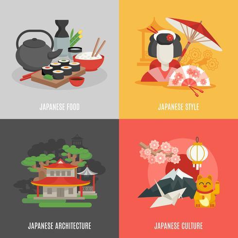 Japanse cultuur platte pictogrammenset vector