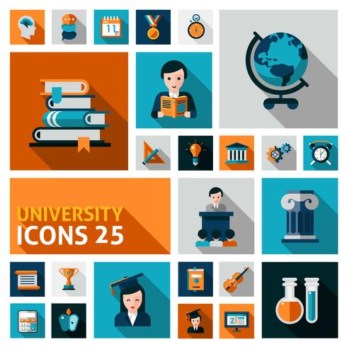 Universiteit Icons Set vector