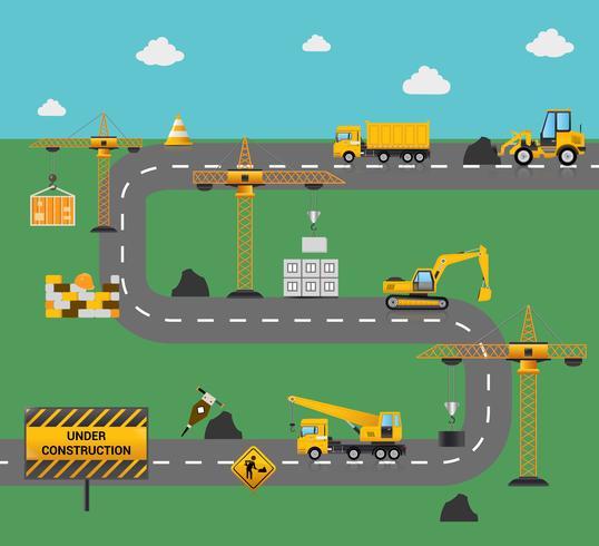 Wegenbouwconcept vector