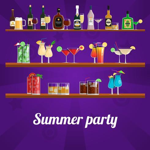 Zomer cocktail party concept vector