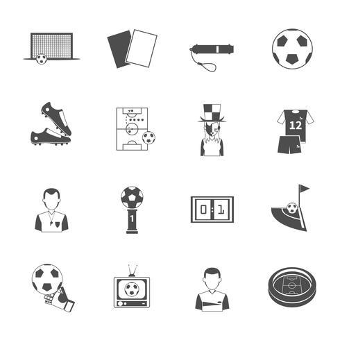 Voetbal pictogrammen instellen zwart vector