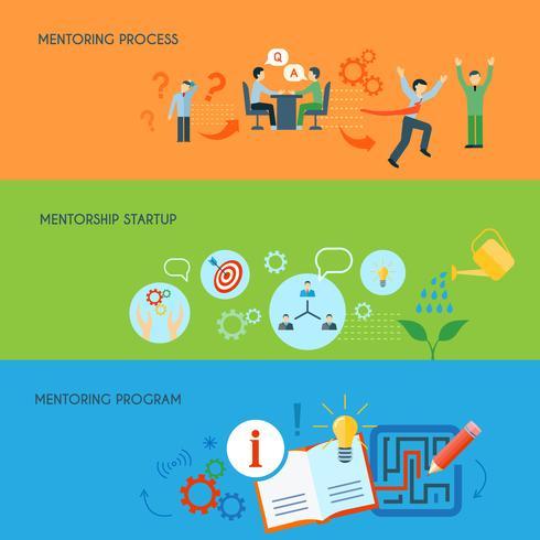 Zakelijke mentoring vlakke horizontale banners instellen vector
