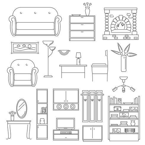 Interieur Icons Line Set vector