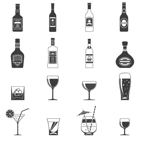 Alcohol zwarte pictogrammen vector