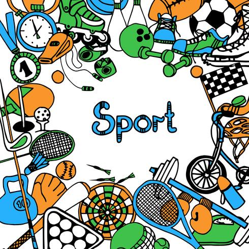 Sport schetsframe vector