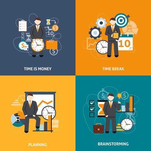tijd management plat vector