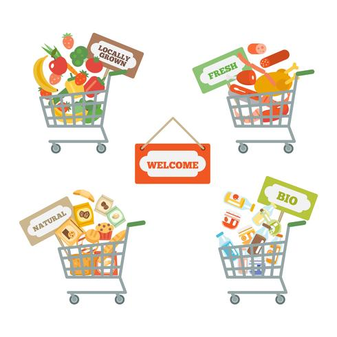 Supermarktkar met voedsel vector