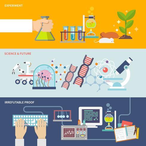 Wetenschap en onderzoek Banner Set vector