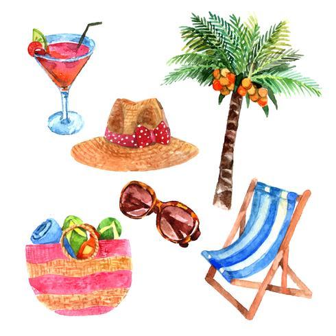 Tropische vakantie reizen aquarel pictogrammen instellen vector