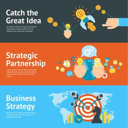 Bedrijfsstrategie analyse concept banners set vector