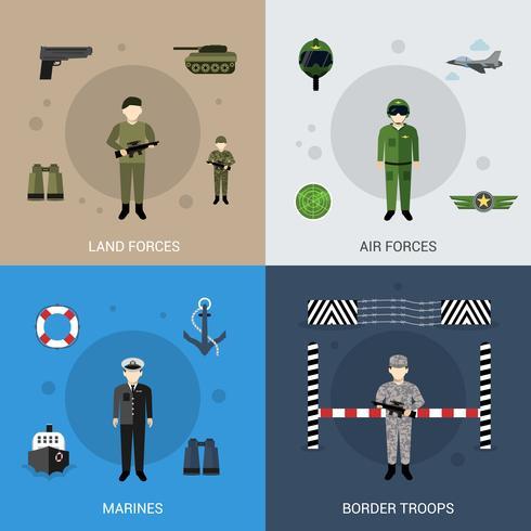 Militaire vlakke set vector
