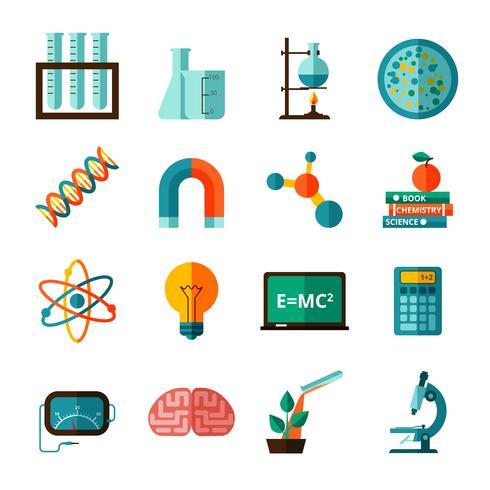 Wetenschap pictogrammen plat pictogrammen instellen vector